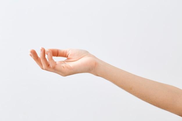 Mano de mujer sosteniendo o mostrando algo