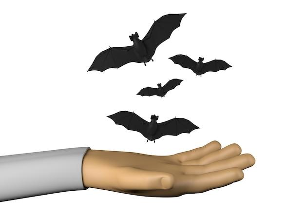 Mano con murciélagos de halloween. ilustración 3d.