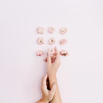 Mano de niña sosteniendo capullos de rosa secos rosados en rosa