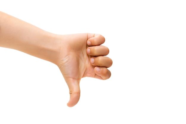 Mano de los niños gesticulando en blanco