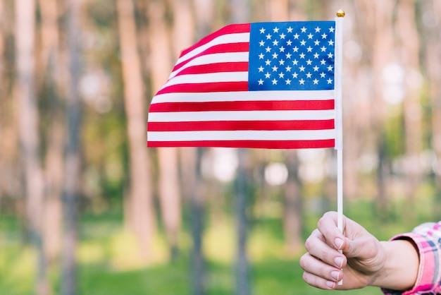 Mano con ondeando bandera americana