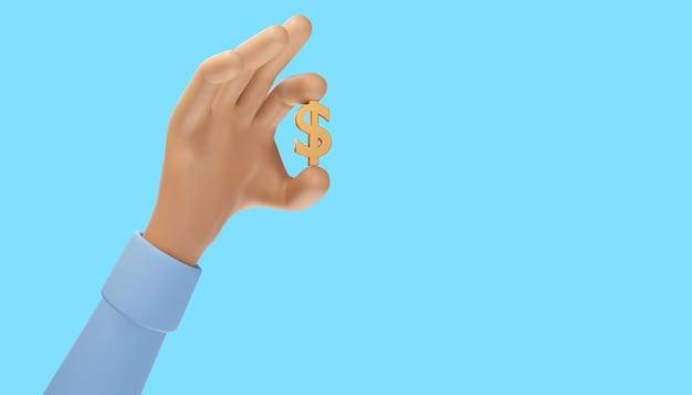 Mano de personaje de empresario de dibujos animados sosteniendo un signo de dólar. ilustración 3d.