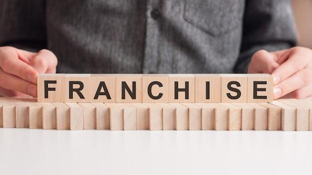 La mano pone un cubo de madera con la letra f de la palabra franquicia. la palabra está escrita en cubos de madera sobre la superficie blanca de la mesa.
