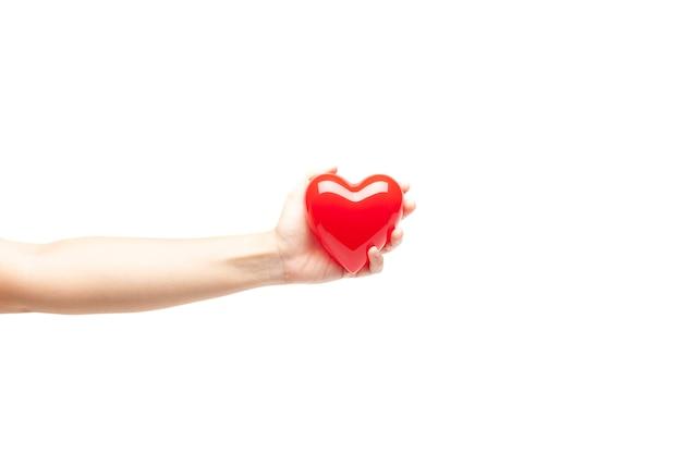 Mano que lleva a cabo el corazón rojo plástico aislado en el fondo blanco