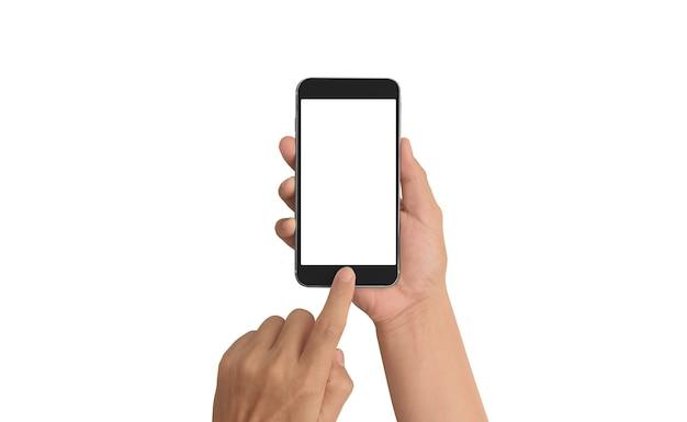 Mano que sostiene el dispositivo de teléfono inteligente aislado en la maqueta de fondo blanco