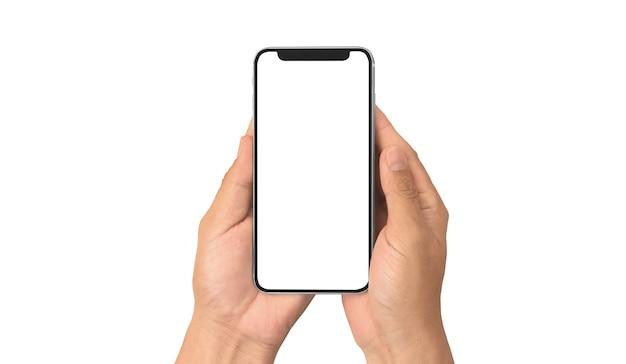 Mano que sostiene el dispositivo de teléfono inteligente y la pantalla táctil