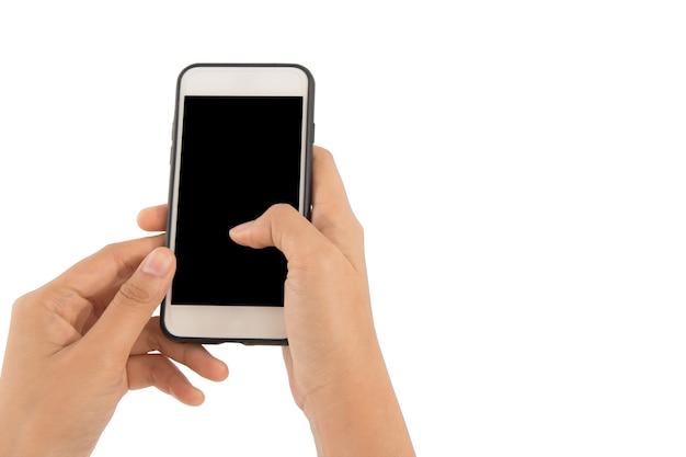 Mano que sostiene el aislante del teléfono en el fondo blanco