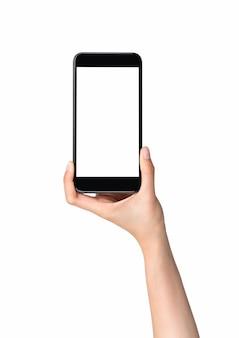 Mano que sostiene la maqueta de teléfono inteligente de pantalla en blanco, aislado sobre fondo blanco.