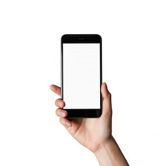 Mano que sostiene la pantalla en blanco del teléfono inteligente en aislado.