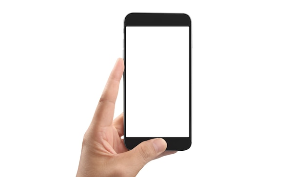 Mano que sostiene el teléfono inteligente con espacio en blanco y pantalla táctil aislada sobre fondo blanco