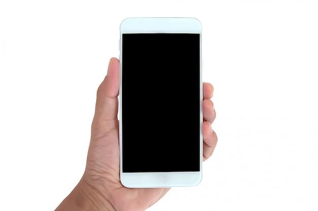 Mano que sostiene el teléfono inteligente con pantalla en blanco para hacer la plantilla de publicidad de obras de arte o folleto.