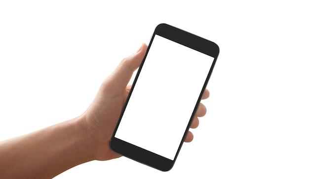 Mano que sostiene el teléfono inteligente con pantalla en blanco y pantalla táctil aislada sobre fondo blanco