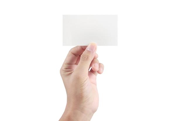 Mano que sujeta la tarjeta virtual con tu en blanco