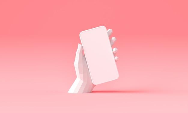 Mano de la representación 3d que sostiene el teléfono, la moda y la ilustración de fondo de moda.