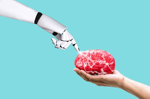 Mano robot concepto cerebral ai en memoria de comando en mano humana sosteniendo