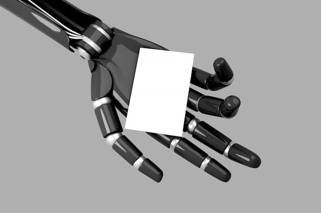 Mano de robot sosteniendo una tarjeta de visita vacía