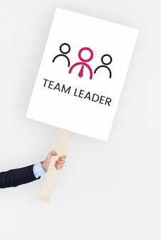 Mano sosteniendo la bandera del gráfico de organización empresarial de liderazgo