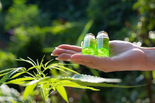 Mano sosteniendo una botella de vidrio con aceite de cbd y hoja de cannabis en el fondo