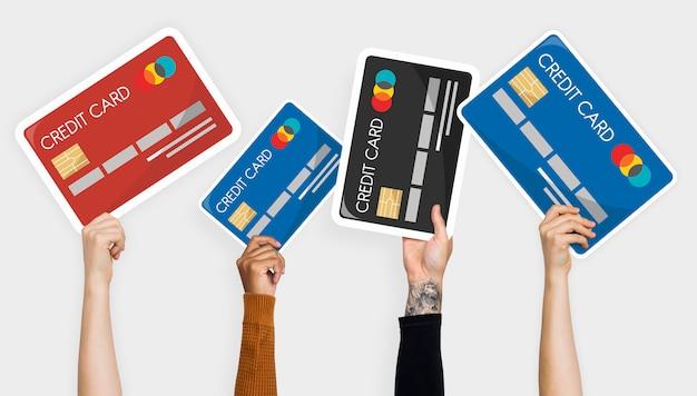 Mano sosteniendo el clipart de tarjeta de crédito