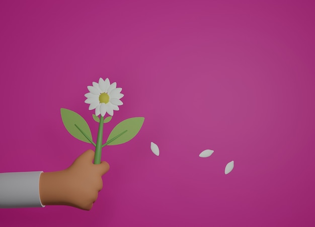 Mano sosteniendo una flor como regalo en rosa