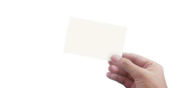 Mano sosteniendo maqueta de tarjeta de visita