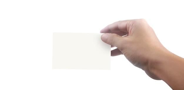 Mano sosteniendo una maqueta de tarjeta de visita