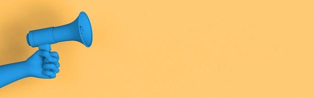 Mano sosteniendo un megáfono azul sobre fondo amarillo pastel para anunciar o promover algo