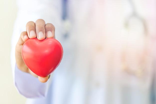 Mano sosteniendo pequeño corazón rojo brillante amor, matrimonio, compromiso, concepto de día de san valentín