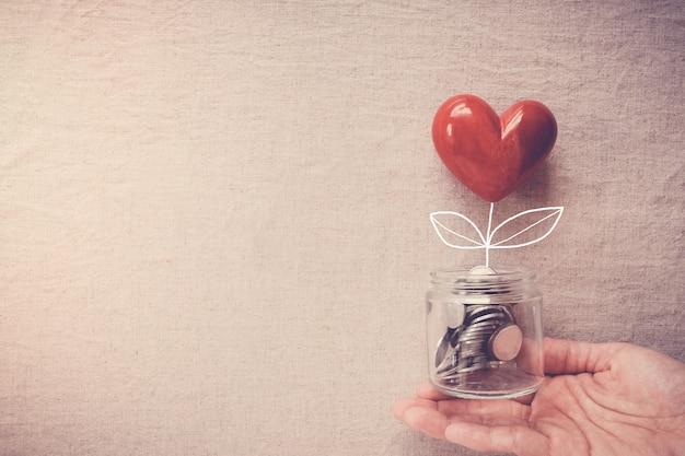 Mano sosteniendo un tarro de árbol de corazón que crece en monedas de dinero