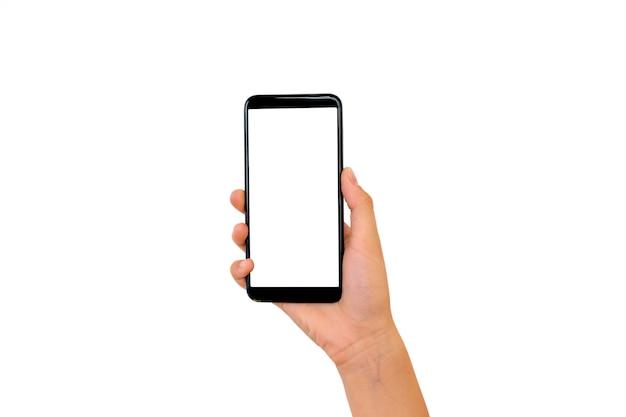 Mano sosteniendo un teléfono inteligente moderno con pantalla en blanco y diseño moderno