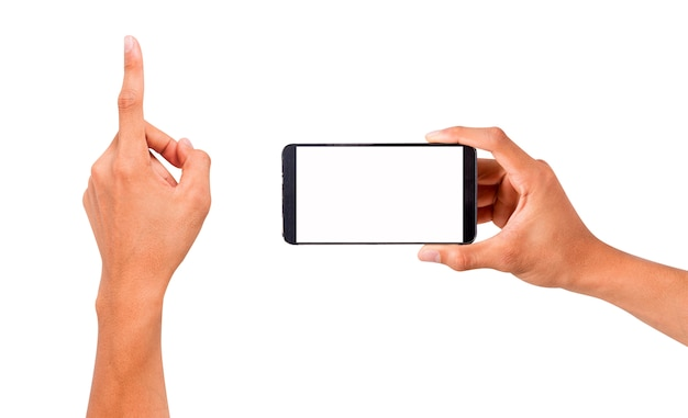 Mano sosteniendo el teléfono inteligente y tocar la mano