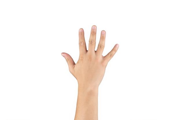 La mano trasera asiática muestra y cuenta el signo de 5 (cinco) en el dedo sobre fondo blanco aislado. trazado de recorte