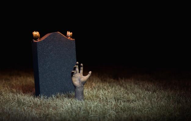 Mano de zombi que sale del suelo con una lápida detrás con velas. representación 3d