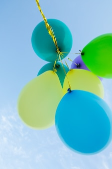 El manojo de globos de colores pastel que flota en el aire