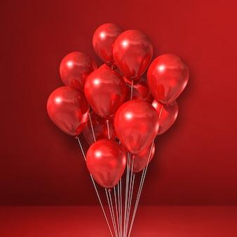 Manojo de globos sobre un fondo de pared roja. ilustración 3d render