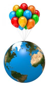 Manojo de globos sosteniendo el planeta tierra