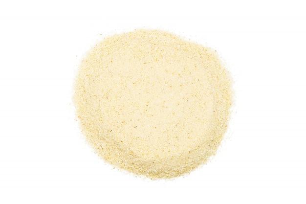 Manojo de sémola, de cerca, macro, vista desde arriba. harina popular en la cocina.