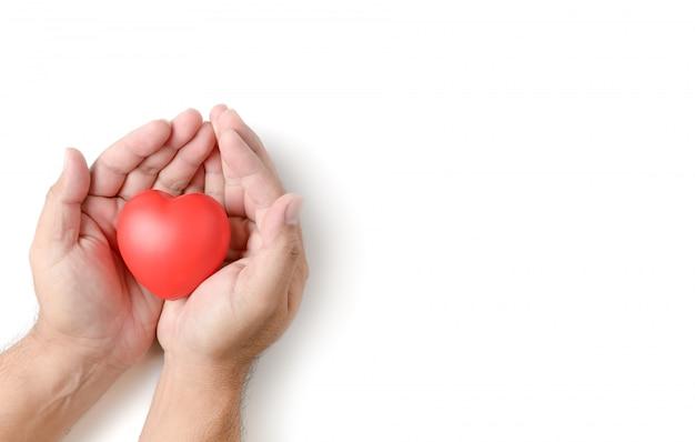 Manos adultas sosteniendo corazón rojo aislado