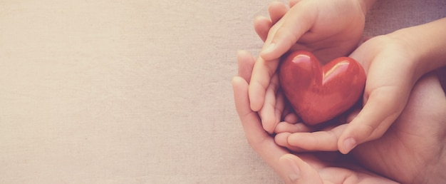 Manos de adulto y niño holiding rojo él, él salud y concepto de donación