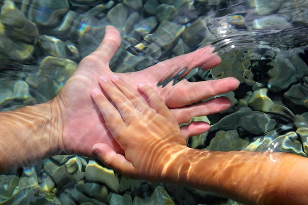 Manos de adultos y niños sosteniendo bajo el agua