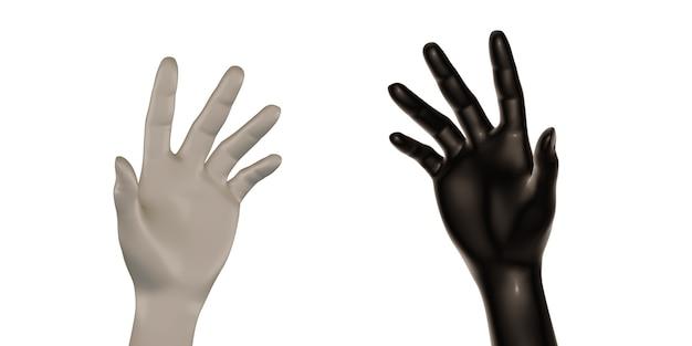 Manos blancas y negras ilustración 3d de fondo blanco