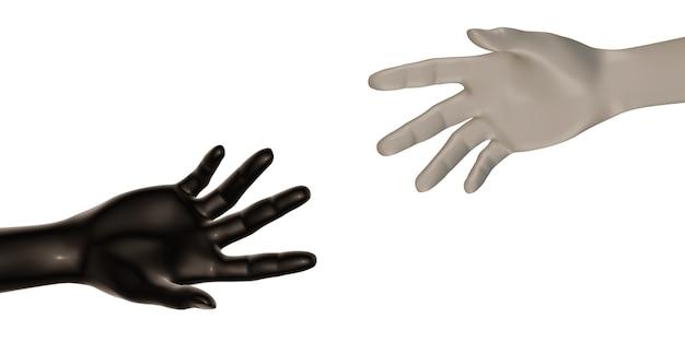 Manos blancas y negras