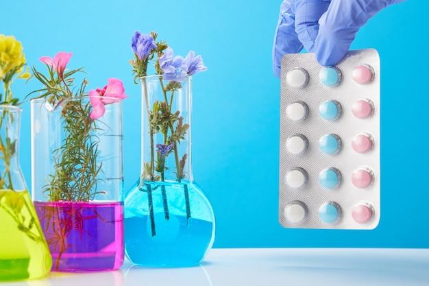 Las manos del científico sostienen pastillas. tubos de ensayo con plantas como concepto de droga orgánica natural.