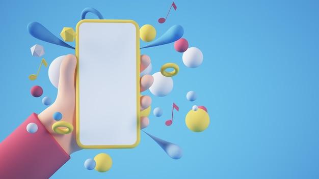 Manos de dibujos animados con smartphone en blanco amarillo