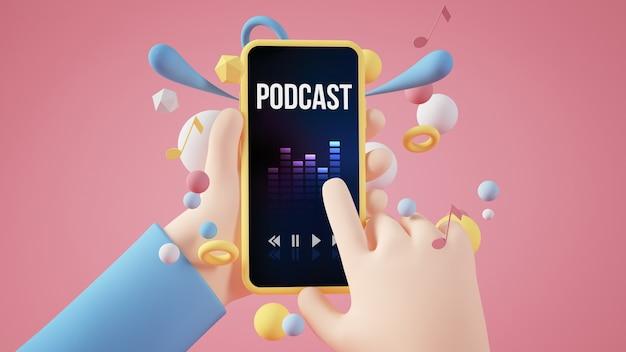 Manos de dibujos animados sosteniendo la representación 3d del teléfono inteligente podcast amarillo