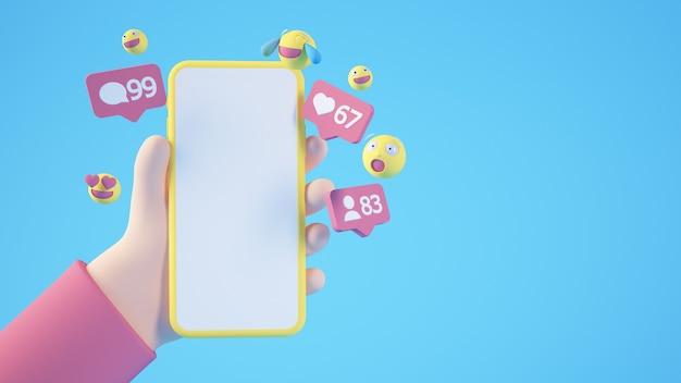 Manos de dibujos animados sosteniendo un teléfono en blanco aislado