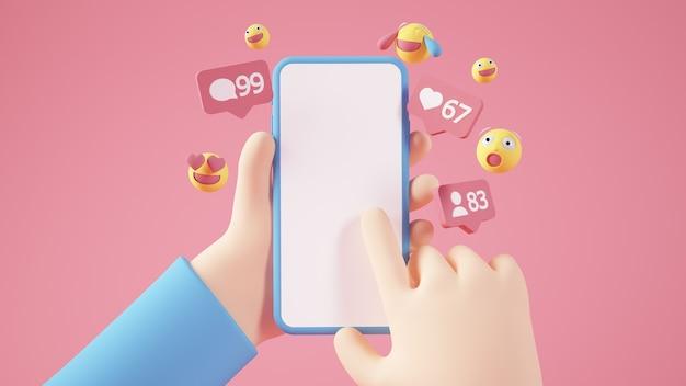 Manos de dibujos animados sosteniendo un teléfono en blanco