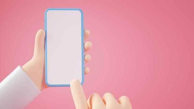 Manos de dibujos animados tocando el teléfono inteligente en blanco