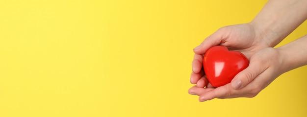 Las manos femeninas sostienen el corazón en el espacio amarillo. cuidado de la salud, donación de órganos.