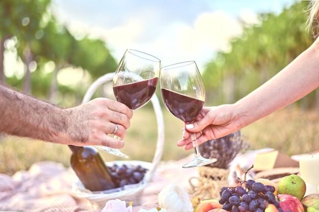Manos de hombre y mujer con dos copas de vino tostadas en el picnic al aire libre